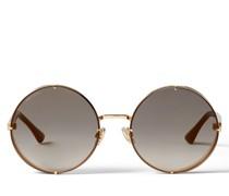 Lilo Runde Sonnenbrille aus Metall in Rose Gold mit goldenen Spiegelgläsern und grauer Tönung