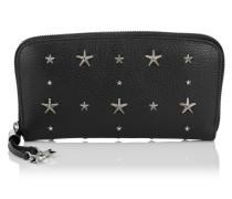 Filipa Brieftasche aus schwarzem genarbtem Leder mit Sternen