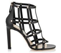 Tina 100 Sandalen aus schwarzem Kalbsleder mit goldenen Nieten