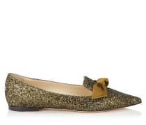Gabie Flat Flache spitze Schuhe aus Galaxy-Glitzergewebe in Olive und Schleife aus Satin