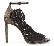 Lucele 100 Sandaletten aus schwarzem Nappaleder und Spitze mit Blumen-Appliqué