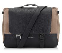 Lee/l Messenger Tasche aus Wildleder in Mocha und genarbtem Leder in Schwarz