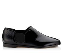 Glint Flat Flache Schuhe aus weichem schwarzen Lackleder