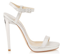Claudette 120 Sandalen aus weißem Schimmerwildleder und Kristalldetails