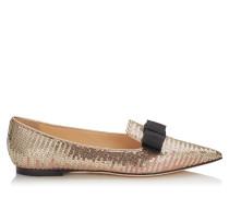 Gala Flache spitze Schuhe mit goldenem Sequin-Dégradé und rosanem Satin