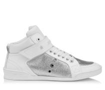 Lewis Sneaker aus weißem Lackleder mit feinem silbernem Glitzer