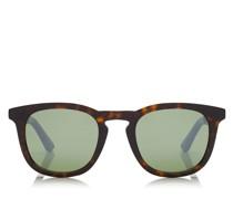 BEN Sonnenbrille im Wayfarer Stil in dunklem Havana mit grünen Spiegelgläsern