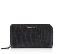 Carnaby Reisebrieftasche aus dunkelblauem Satinleder mit Krokodilrelief