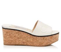 Deedee 80 Sandalette aus Nappaleder in Latte mit Wedge und Logoprägung