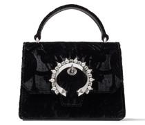 Madeline Satchel/s Handtasche aus schwarzem Deko-Samt und Schnalle mit Perlen und Kristallverzierung