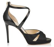 Lorina 100 Sandalen aus schwarzem Lackleder und Satin