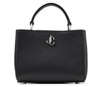 Varenne TOP Handle Mini Handtasche aus schwarzem genarbten Leder mit Tragegriff und silbernem JC-Emblem