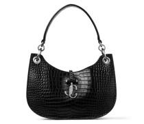 Varenne Hobo/s Handtasche aus schwarzem Leder mit glanzvoller Krokodilprägung