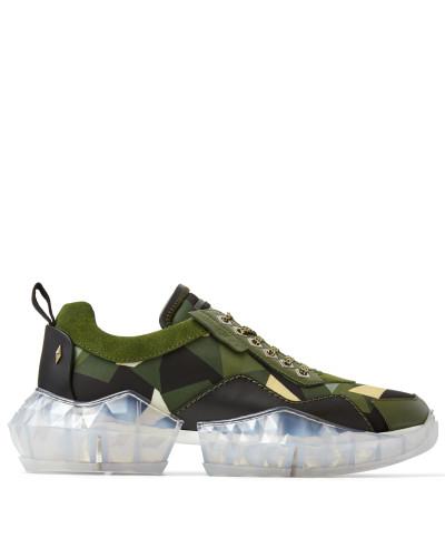 Diamond/m Sneaker aus weichem Leder und Techno-Netzgewebe in Armeegrün