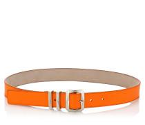 Blitz Gürtel aus orangenem Neon-Lackleder
