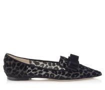 Gala Spitze flache Schuhe aus Gewebe mit Leoparden-Print
