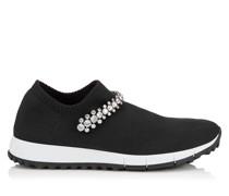 Verona Sneaker aus schwarzem Gewebe mit Kristallstück