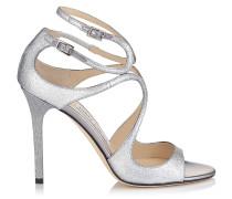 Lang Sandalen aus silbernem Glanzleder mit Glitzer