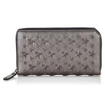 Carnaby Reisebrieftasche aus grauem Nappaleder mit Sternen