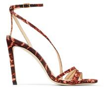 Tesca 100 Sandaletten aus Gewebe mit Schlangen-Print in Mandarin-Rot