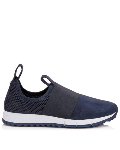 Oakland/f Sneaker aus dunkelblauem Wildleder und Stretch-Meschgewebe mit Kristalldetails
