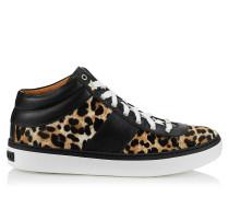 Bells Sneaker aus Leder mit Fell-Print und Leopardenmotiv