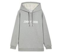 JC College-Hoodie Oversized Kapuzenpullover in gemischtem Grau mit weißem Logo