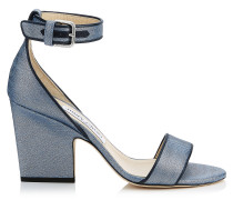 Edina 85 Wedges aus Denim-Gewebe in Dämmerungsblau mit Metallic-Optik