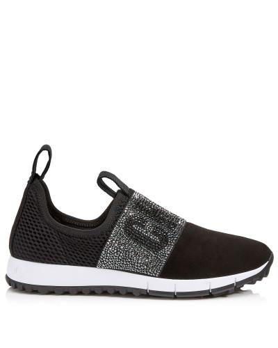 Oakland/f Sneaker aus schwarzem Wildleder und Stretch-Meschgewebe mit Kristalldetails