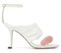 Ocean 90 Sandaletten aus Nappaleder in Latte mit rosa Schmuckverzierung