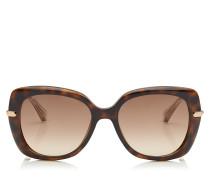 Ludi Oversize Sonnenbrille in Havana und Rose Gold