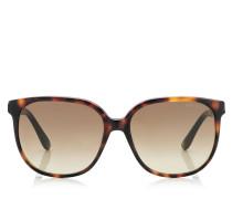 Paula Runde Sonnenbrille aus braunem Acetat-Gestell mit Glitzer