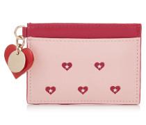 Maxie Kartenetui aus bedrucktem Leder in Kamelie mit roten Herzen