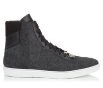 Bruno High-Top-Sneaker aus Glitzerleder in Rauchblau