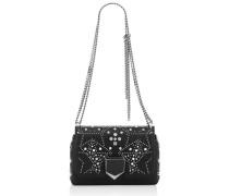 Lockett Petite Handtasche aus schwarzem genarbtem Leder mit Sternen
