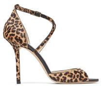 Emsy 100 Sandaletten aus Leder mit Fell-Print und Leoparden-Motiv