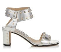 Veto 65 Sandalen aus silbernem Glanzleder mit goldenen Nietendetails