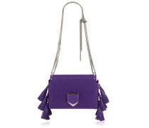 Lockett Petite Handtasche aus violettem genarbtem Leder mit Quasten