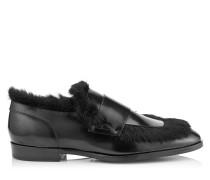 Tedi Halbschuhe aus schwarzem gebürsteten Leder
