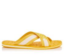 Clive Sandalen aus gelbem und weißem Grosgrain-Gummi