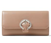 Wallet W/chain Brieftasche aus glattem Leder in Ballettrosa
