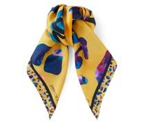 KAT Halstuch aus Seide in Sonnengelb mit mehrfarbigem Leoparden-Print
