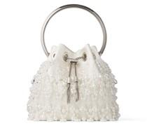 BON BON Handtasche aus Satin in Latte mit perlenverzierten Fransen