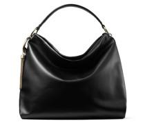 Callie Hobo/l Handtasche aus glattem schwarzen Kalbsleder mit goldenen Details