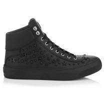 Argyle Sneaker aus schwarzem Kalbsleder mit Sternen