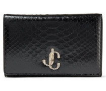 Varenne Clutch Clutch aus schwarzem Pythonleder mit kristallbesetztem JC-Logo
