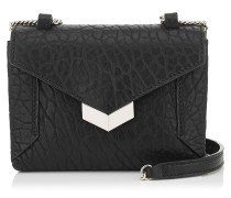 Lexis Mini-Tasche aus schwarzem und chromfarbenem genarbten Leder