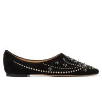 Joselyn Flat Flache Schuhe aus schwarzem Wildleder mit Nietendetails