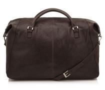 Hetton Reisetasche aus braunem Satin-Leder
