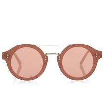 Montie Sonnenbrille aus elfenbeinweißem Acetat mit rundem Gestell und silbernem Kristallstoff
